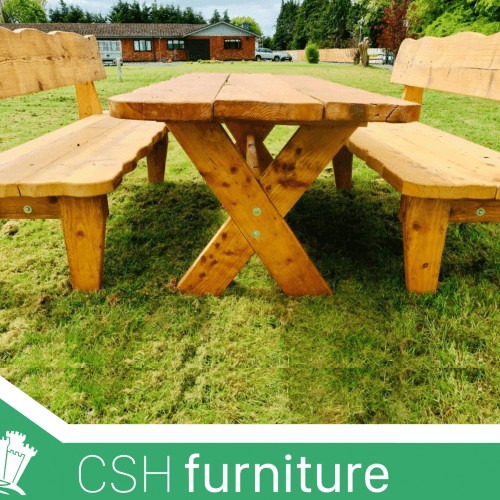Outdoor Rustic Table With Two Benches